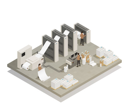 Ilustración de Printing house facility rotary press production process with industrial equipment and operating personnel isometric composition vector illustration - Imagen libre de derechos