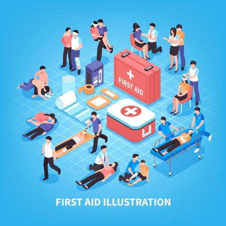 Ilustración de First aid isometric composition with rescue of victim persons, emergency care kit on blue background vector illustration - Imagen libre de derechos