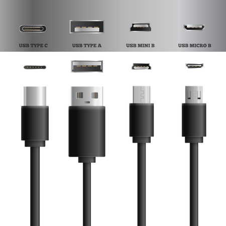 Illustrazione per Realistic usb cable connectors types set of images with modern types of usb plugs and sockets vector illustration - Immagini Royalty Free