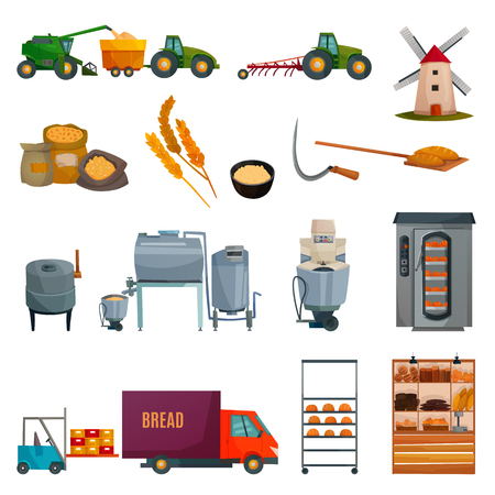 Illustration pour Bread production set with growing cereals, harvesting, bakery equipment, flour products delivery, shop shelves isolated vector illustration    - image libre de droit