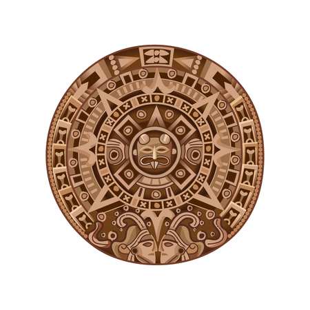 Illustration pour Round ancient mayan calendar colored isolated decorative element on white background cartoon vector illustration  - image libre de droit