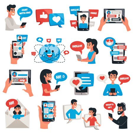 Ilustración de Electronic communication mobile devices for chat messaging talking flat icons collection with smartphone tablet isolated vector illustration  - Imagen libre de derechos