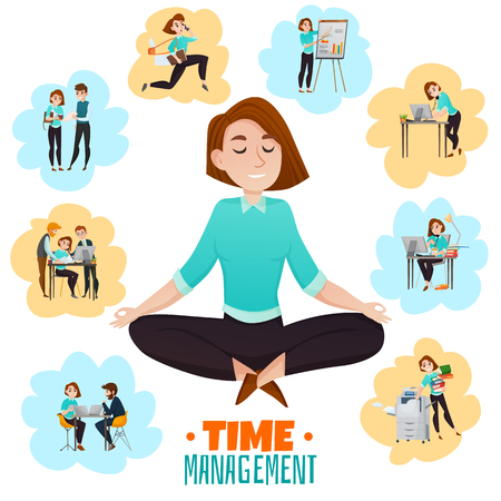 Illustration pour Multitasking flat vector illustration with young business woman meditating in lotus pose after hard work day - image libre de droit