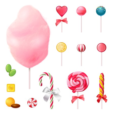 Sweets set of realistic icons with decorated lollipops, cotton candy on stick, colorful caramels isolated vector illustration