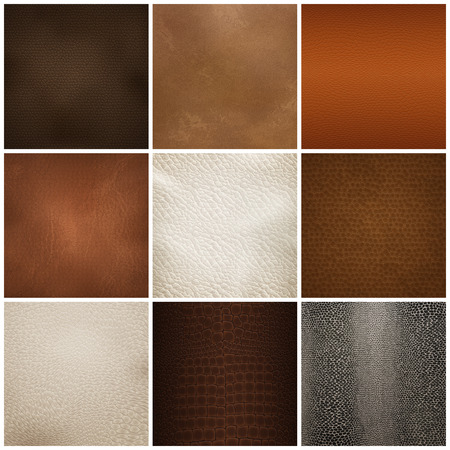 Illustration pour Set of trendy leather textures samples for furniture upholstery and interior decorations. - image libre de droit
