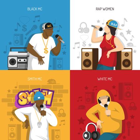 Ilustración de Rap music popular singers performance 4 flat colorful background icons square with black mc rapper vector illustration. - Imagen libre de derechos