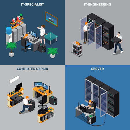 Ilustración de Isometric 2x2 icons set with information technology engineers and computer repair specialists 3d isolated vector illustration. - Imagen libre de derechos