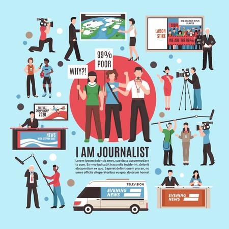 Ilustración de Journalist profession composition on blue background with live reportage, tv news program, weather forecast, interview. Vector illustration. - Imagen libre de derechos
