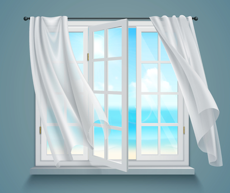 Illustration pour Open window with billowing white curtains and view on sea on blue grey background 3d vector illustration   - image libre de droit