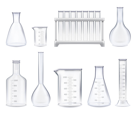 Illustration pour Set of realistic test-tubes and glass jars of various shape with measuring scale isolated vector illustration - image libre de droit