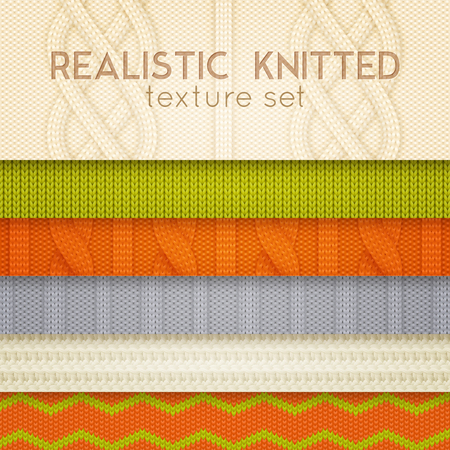 Illustration pour Realistic knitted patterns samples 6 horizontal layers set with scandinavian sweaters cable stitch texture vector illustration - image libre de droit