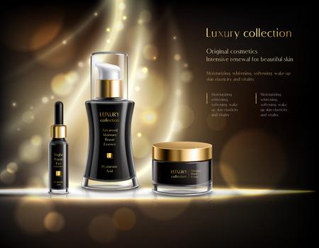 Ilustración de Luxury cosmetics realistic advertisement poster with black lotion dispenser cream jar golden bubbles dark background vector illustration - Imagen libre de derechos