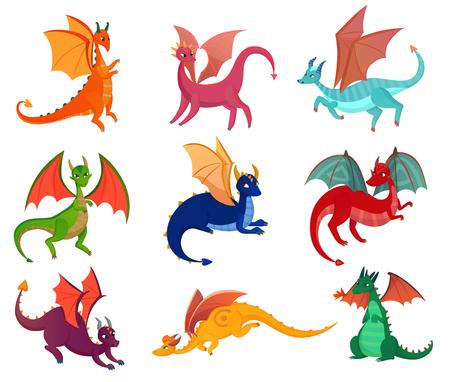 Ilustración de Fairy dragons set - Imagen libre de derechos