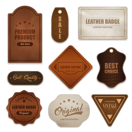 Ilustración de Realistic premium quality genuine leather labels badges tags collection various shapes color and texture isolated vector illustration  - Imagen libre de derechos
