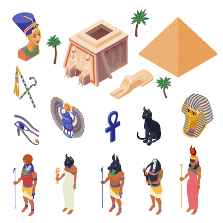 Ilustración de Egypt cultural symbols landmarks and attractions isometric icons collection with pyramid ethnic native clothing isolated vector illustration  - Imagen libre de derechos