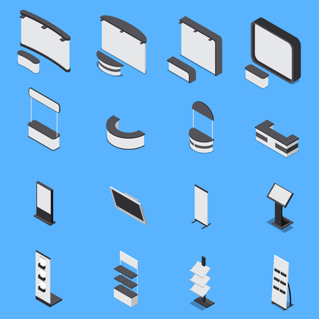 Illustration pour Isometric set of various exhibition stands and shelves isolated on blue background 3d vector illustration - image libre de droit