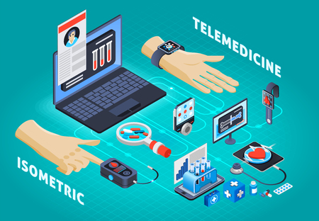 Foto de Digital health industry offerings isometric composition poster with telemedicine heart rate blood pressure control tests vector illustration - Imagen libre de derechos