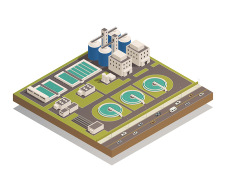 Wastewater sewage  and water cleaning purification treatment plant with pumping filtration separators and aerotanks facilities vector illustration