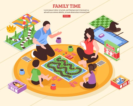 Illustration pour Family pastime scene with parents and kids playing board games on floor isometric vector illustration  - image libre de droit