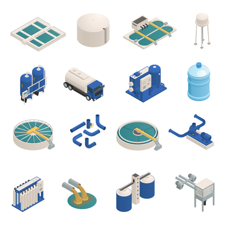 Illustration pour Water purification technology elements isometric icons collection with wastewater cleaning filtration and pumping units isolated vector illustration  - image libre de droit