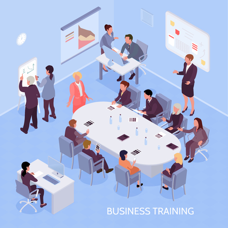 Illustration for Business experts and employees during corporate training, office interior elements on blue background isometric vector illustration - Royalty Free Image