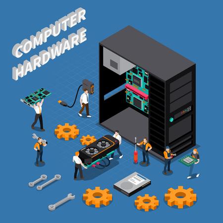 Ilustración de Isometric composition with computer hardware and information technology engineers repairing system unit 3d vector illustration - Imagen libre de derechos
