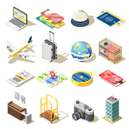 Illustration for Travel isometric icons set vector illustration - Royalty Free Image