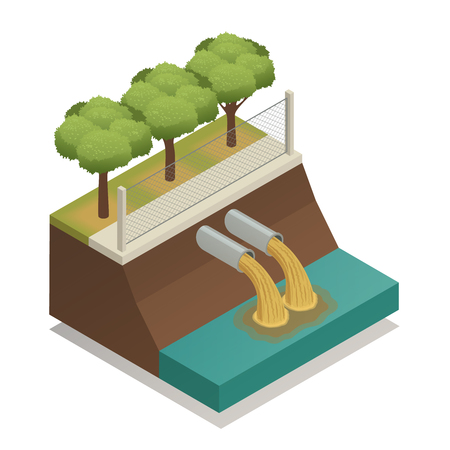 Waste water sewage treatment before it dumped to river vector illustration