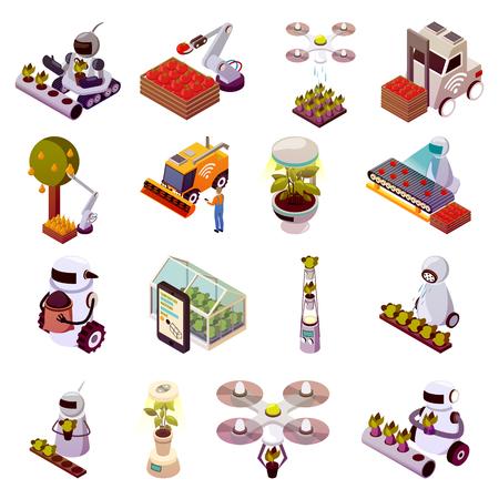 Illustration pour Agricultural robots isometric icons set vector illustration - image libre de droit