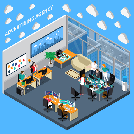 Illustration pour Advertising agency isometric composition on blue background with creative team, designers at office vector illustration - image libre de droit