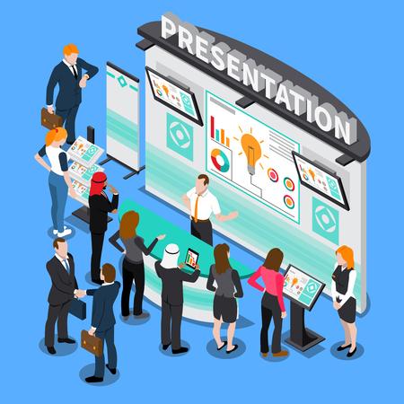 Illustration pour Presentation with infographic elements during exhibition, business people, computer technologies isometric composition on blue background vector illustration - image libre de droit