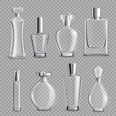 Illustration pour Perfume glass bottles various shapes and caps clear colorless realistic set on transparent background isolated vector illustration - image libre de droit