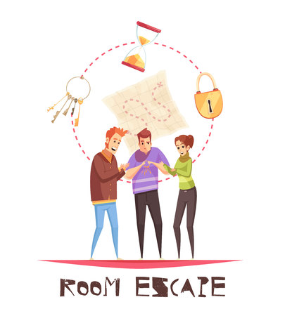 Illustration for Room escape design concept with three adult gamers figurines and lock clock keys cartoon icons  vector illustration - Royalty Free Image