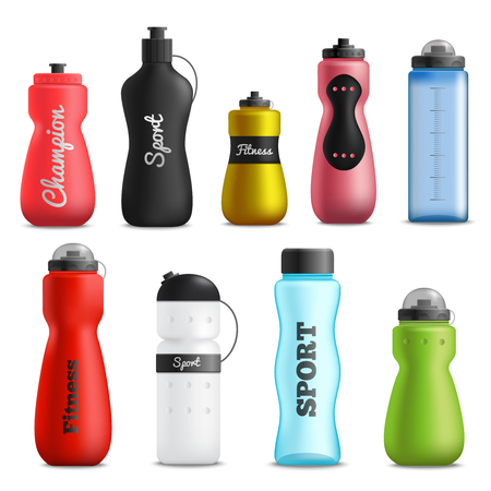 Illustration pour Fitness running and sport water bottles various shapes size and colors realistic objects collection isolated vector illustration - image libre de droit