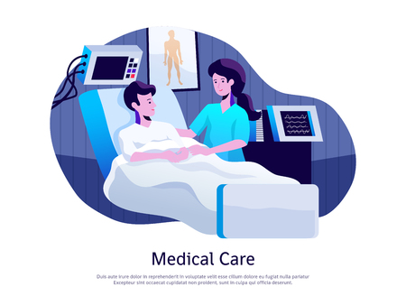 Illustration for Medical care poster with doctor attending patient in intensive care unit with life support equipment vector illustration - Royalty Free Image