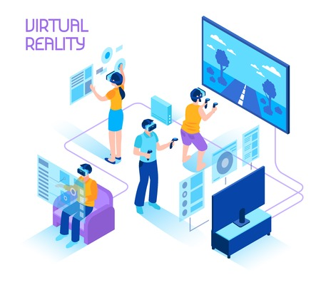 Photo pour Virtual reality isometric composition with people in headsets immersing in virtual reality world holding motion controllers vector illustration. - image libre de droit
