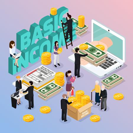 Illustration pour Social security composition with basic income and money symbols isometric vector illustration - image libre de droit