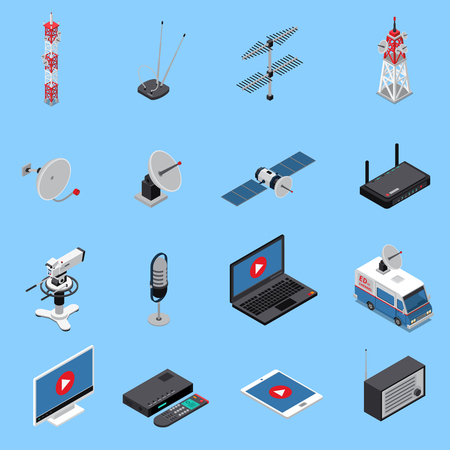 Illustration pour Telecommunication isometric icons set with broadcast equipment and electronic devices isolated on blue background 3d vector illustration. - image libre de droit