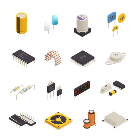 Illustration pour Semiconductor device electronic components isometric icons set with signal photo and transient voltage diodes isolated vector illustration - image libre de droit