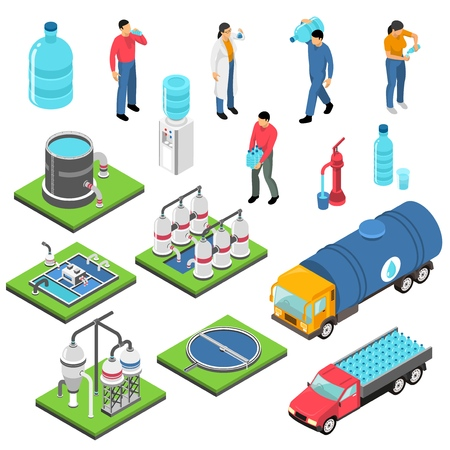 Illustration pour Water purification set of isometric icons with treatment plant, clean drink in plastic bottles isolated vector illustration - image libre de droit