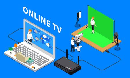 Illustration pour Telecommunication isometric composition with television program shooting - image libre de droit