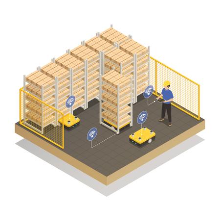 Ilustración de Smart industry machine intelligence in manufacturing storage unit - Imagen libre de derechos