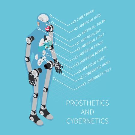 Illustration pour Prosthetics and cybernetics composition with healthcare symbols on blue background isometric vector illustration - image libre de droit