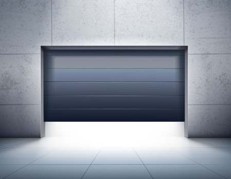 Illustration pour Garage realistic composition with grey tiled walls and floor and opening of dark shutter door, vector illustration. - image libre de droit