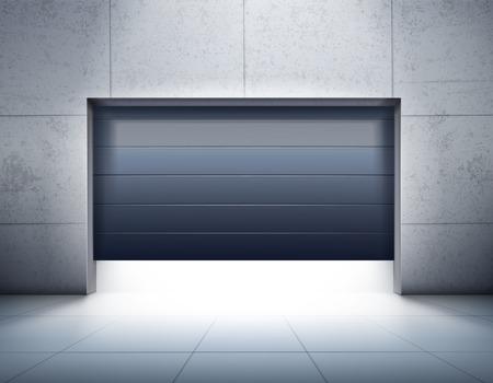 Ilustración de Garage realistic composition with grey tiled walls and floor and opening of dark shutter door, vector illustration. - Imagen libre de derechos