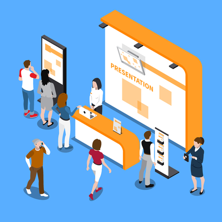 Illustration pour People looking at promotion stands at exhibition isometric composition on blue background 3d vector illustration - image libre de droit