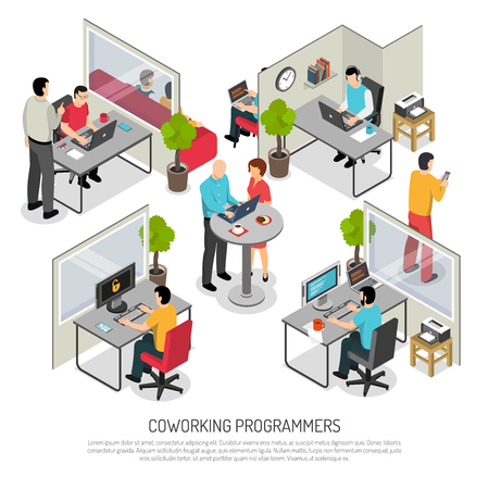 Illustration pour Computer programmers software developers office, co-working solution with shared and individual work space. Isometric composition vector illustration. - image libre de droit