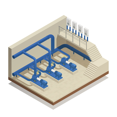 Illustration pour Water purification and cleaning facility element isometric composition with treatment plant pump system equipment vector illustration. - image libre de droit