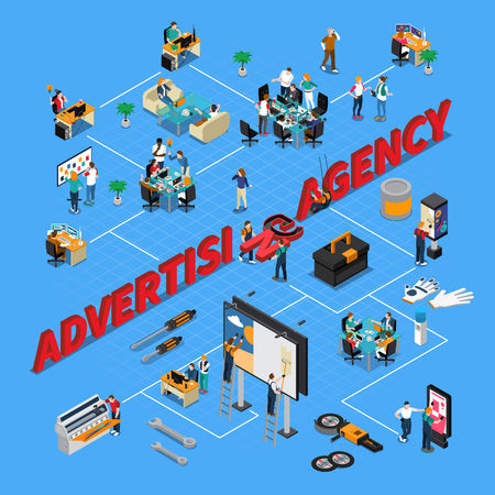 Illustration pour Advertising agency isometric flowchart on blue background with staff during work, print equipment, pasting billboards vector illustration - image libre de droit