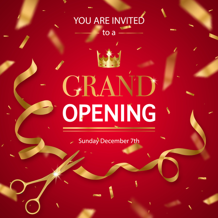 Illustration pour Grand opening invitation card poster with realistic golden scissors cutting ribbon and crown red background vector illustration - image libre de droit